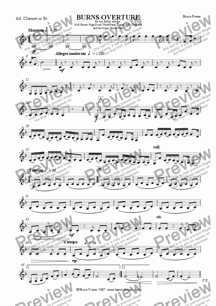 page one of the Clarinet 3 part from BURNS OVERTURE