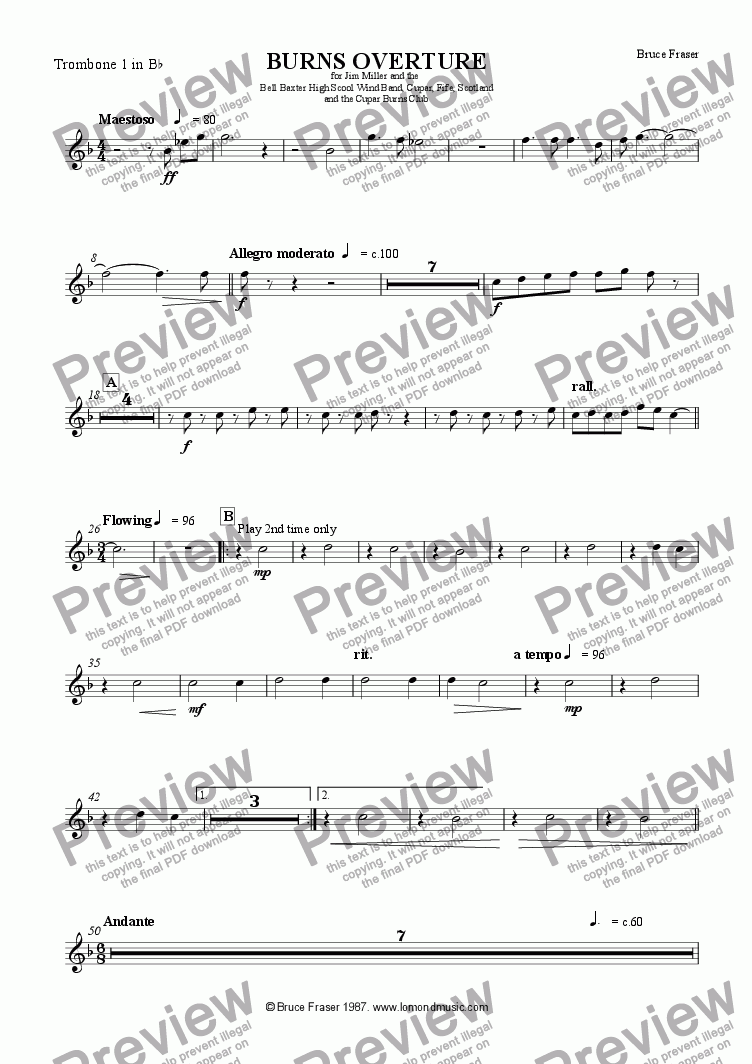 page one of the Trombone 1 in Bb part from BURNS OVERTURE