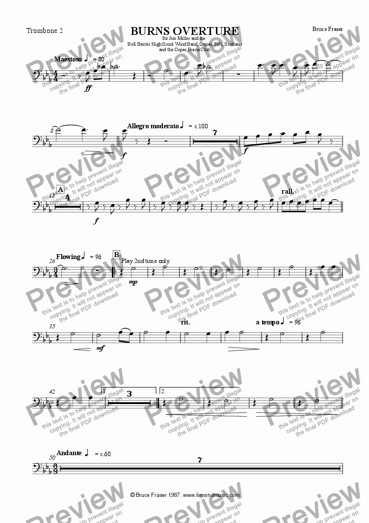 page one of the Trombone 2 part from BURNS OVERTURE