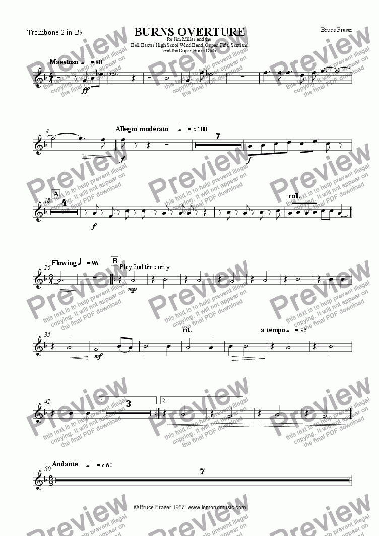 page one of the Trombone 2 in Bb part from BURNS OVERTURE