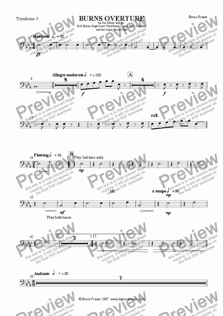 page one of the Trombone 3 part from BURNS OVERTURE