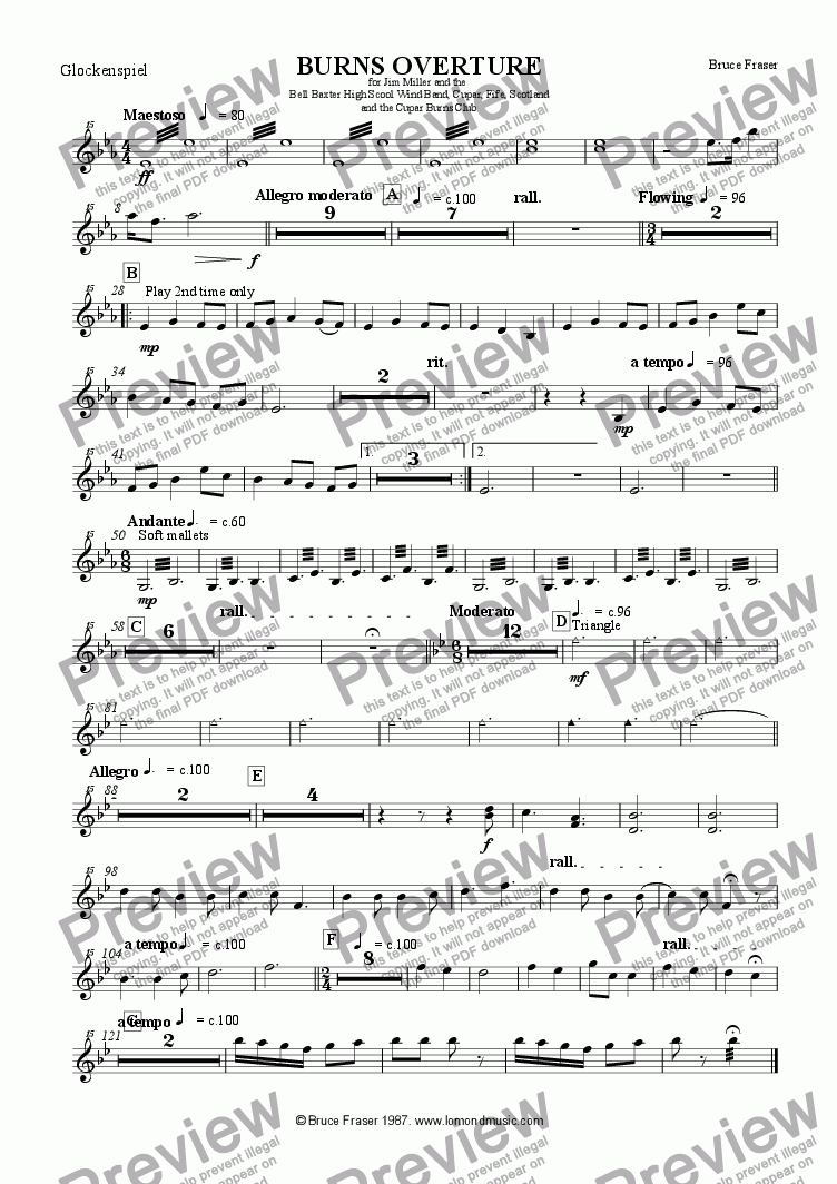 page one of the Glockenspiel part from BURNS OVERTURE