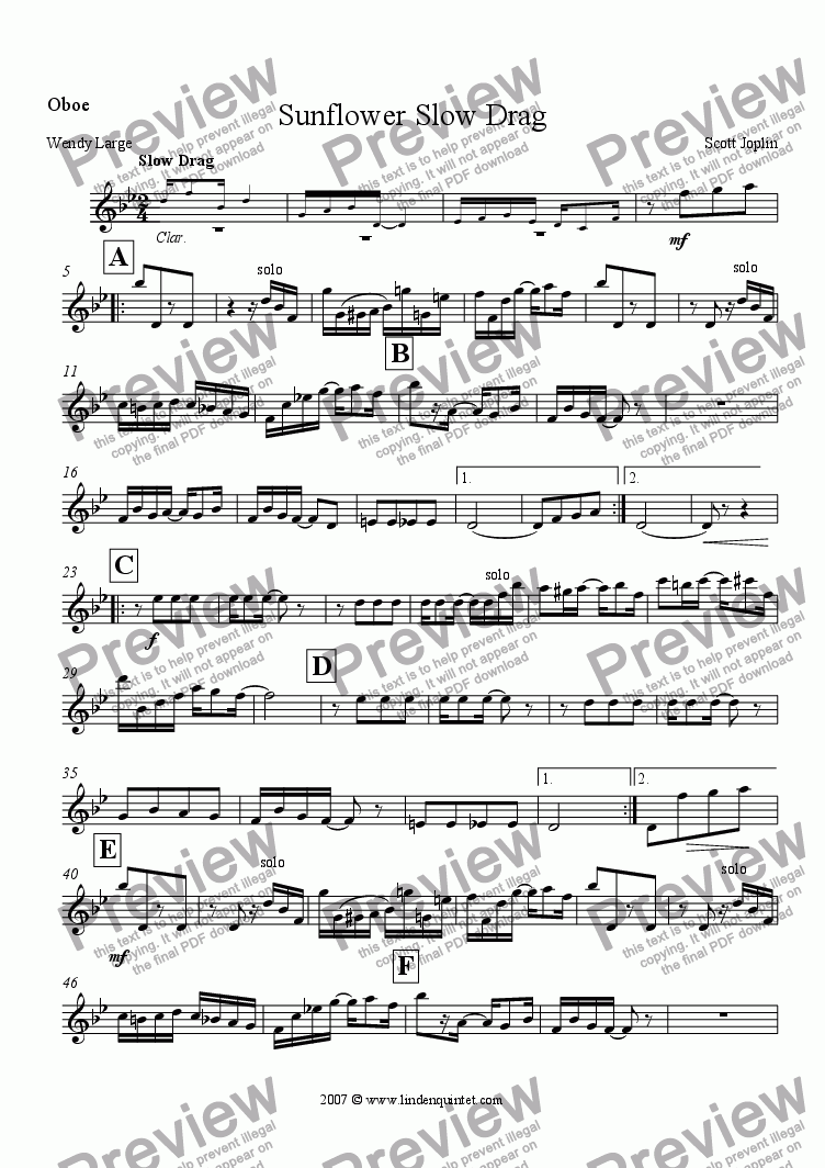 page one of the Oboe part from Joplin - Sunflower Slow Drag