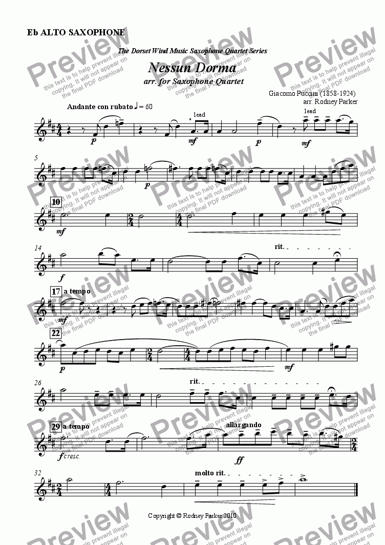 page one of the Alto Sax part from Nessun Dorma arr. for Saxophone Quartet