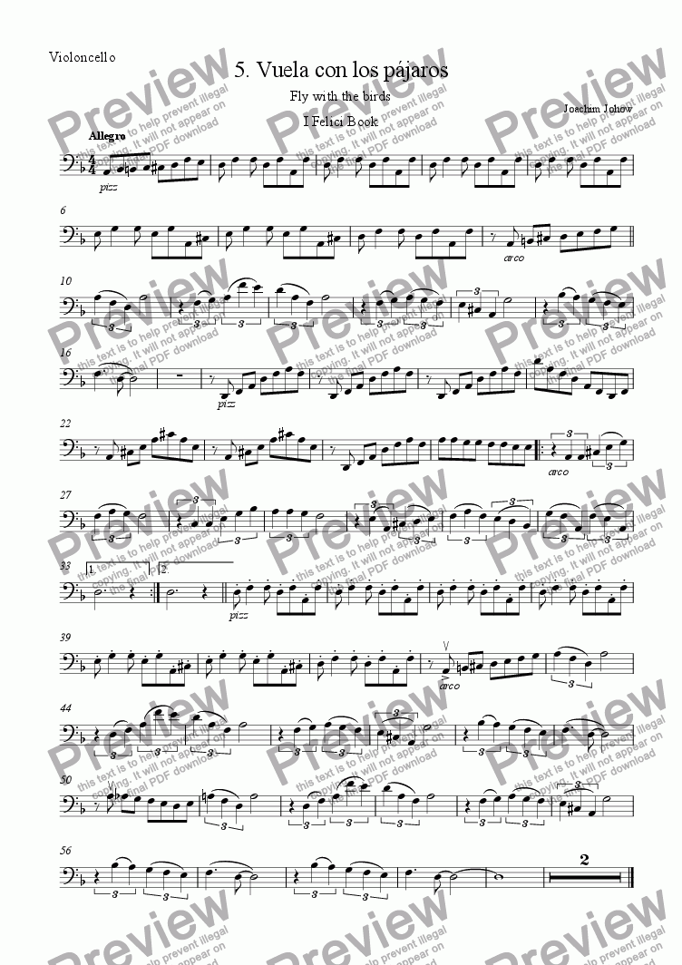page one of the Vlc part from I Felici 05  (Vuela con los pajaros)
