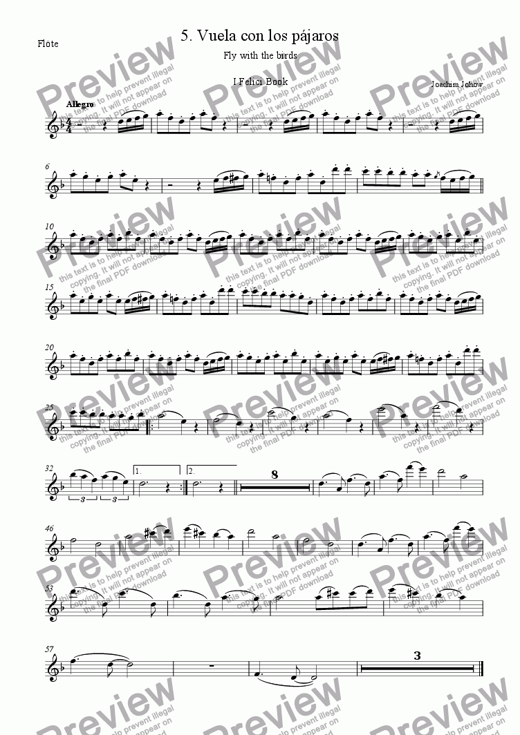 page one of the Fl part from I Felici 05  (Vuela con los pajaros)