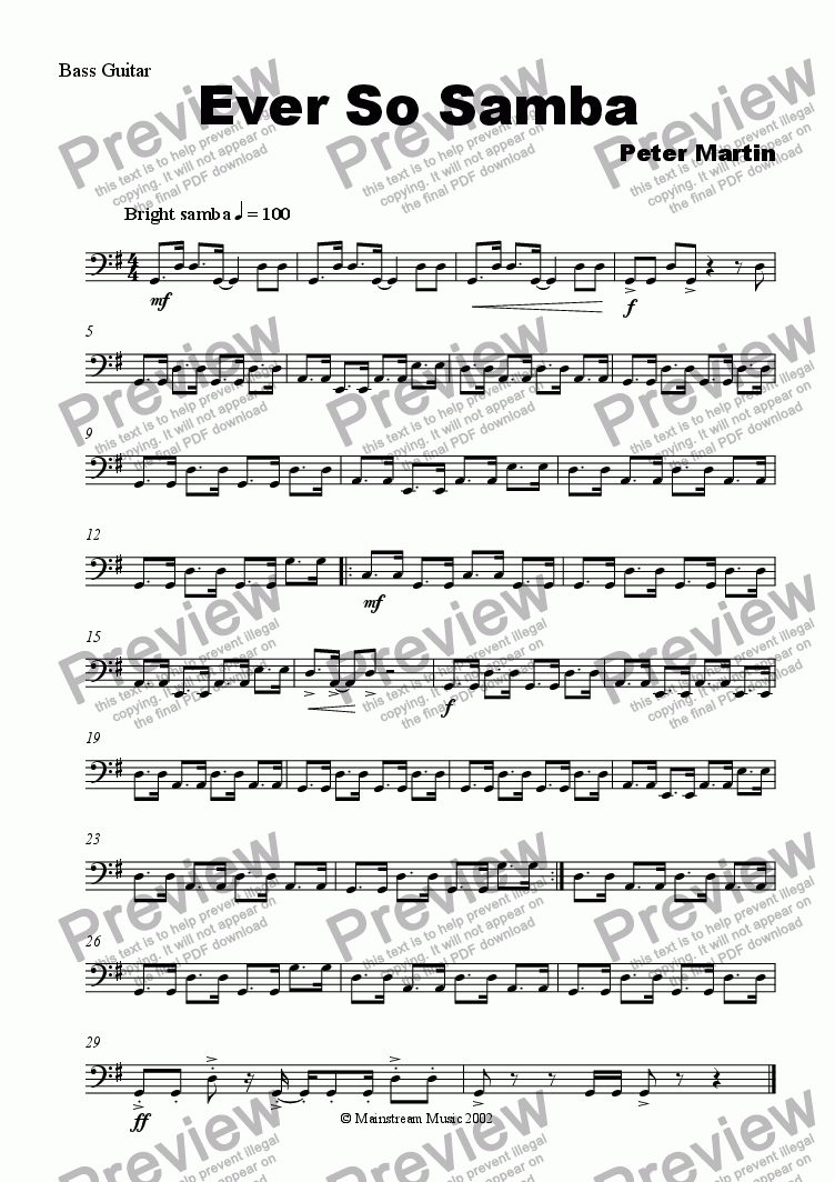 page one of the Bass Guitar part from Ever So Samba