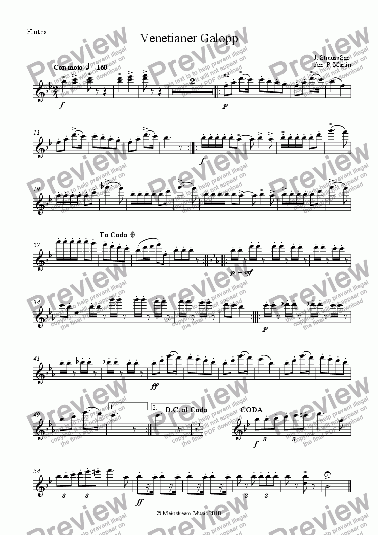 page one of the Flutes part from Venetianer Galopp