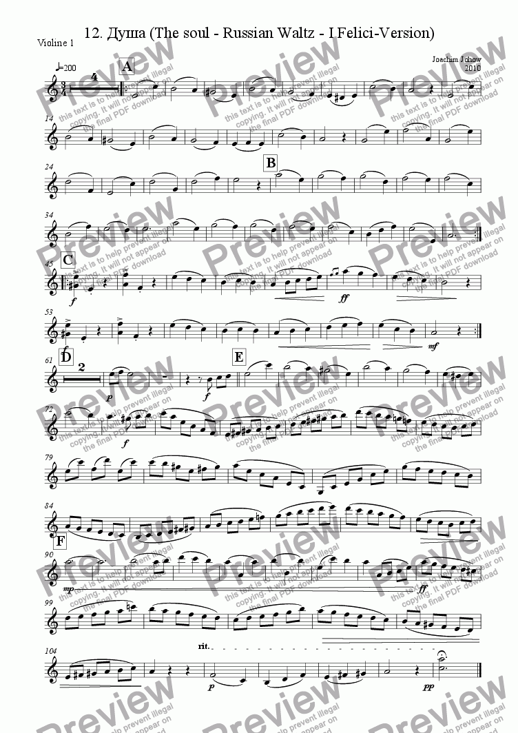 page one of the 1. Vl part from I Felici 04 (Russian walz)