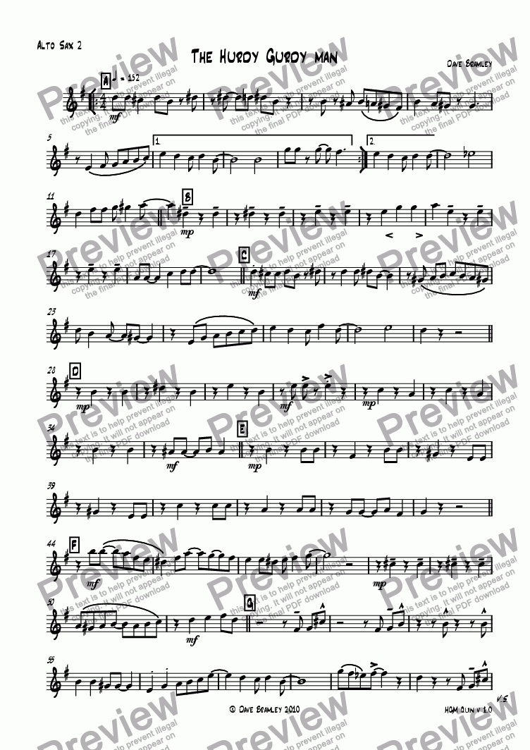 page one of the Alto 2 part from The Hurdy Gurdy man