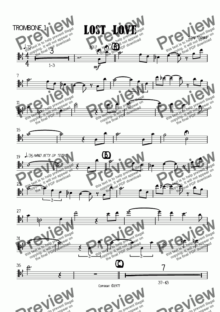 page one of the T-bone 1 part from Lost Love (big band)
