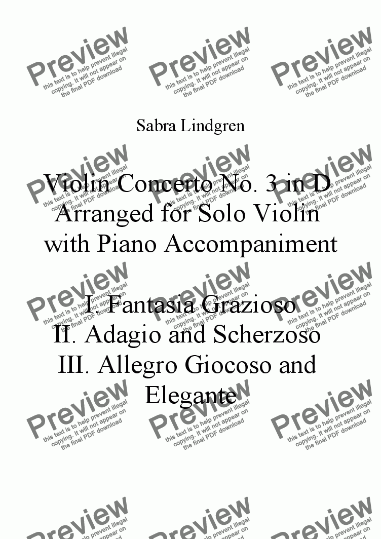 page one of the Solo Violin part from Violin Concerto No. 3 in D Arranged for Solo Violin with Piano Accompaniment, III. Allegro Giocoso a