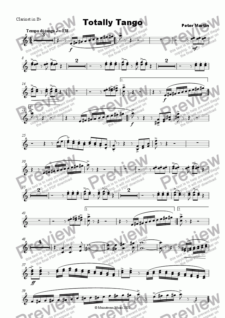 page one of the Clarinet in Bb part from Totally Tango