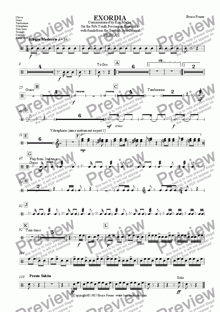 page one of the Claves etc part from EXORDIA