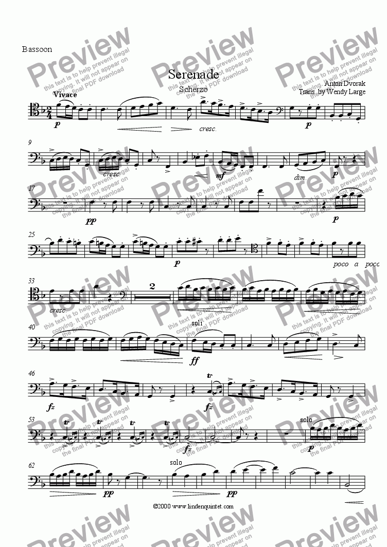 page one of the Bassoon part from Dvorak - Serenade for Strings, Scherzo