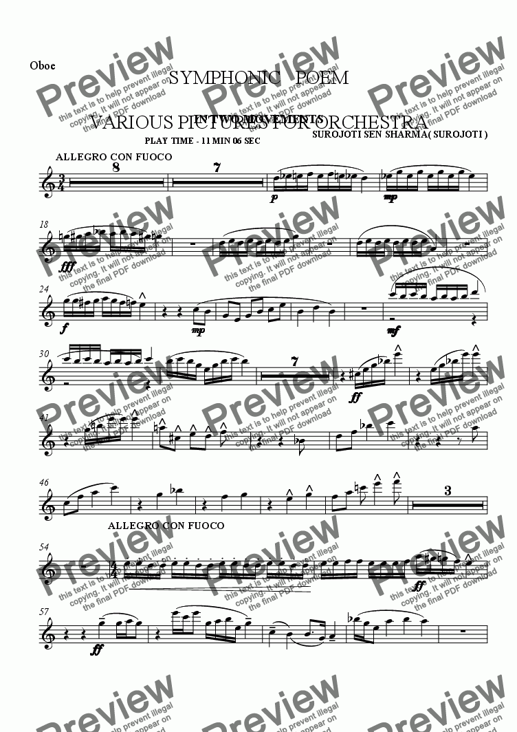 page one of the Oboe 1 part from SYMPHONIC POEM - VARIOUS PICTURES - IN TWO MOVEMWNTS