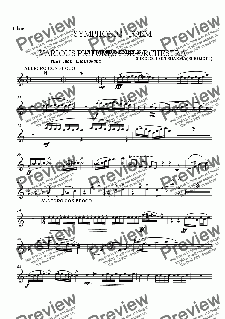 page one of the Oboe 3 part from SYMPHONIC POEM - VARIOUS PICTURES - IN TWO MOVEMWNTS