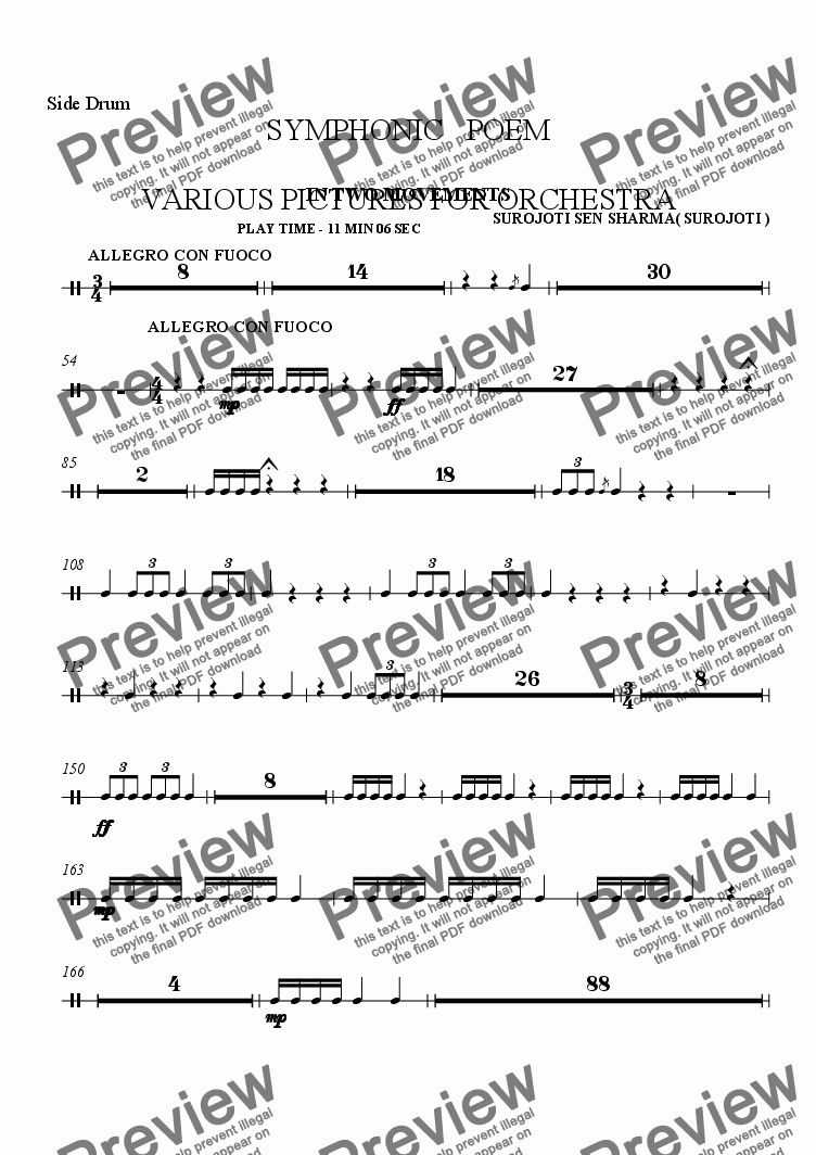 page one of the Side Drum part from SYMPHONIC POEM - VARIOUS PICTURES - IN TWO MOVEMWNTS