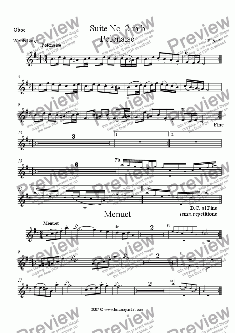 page one of the Oboe part from Bach - Suite No. 2 in b, Polonaise and Menuet