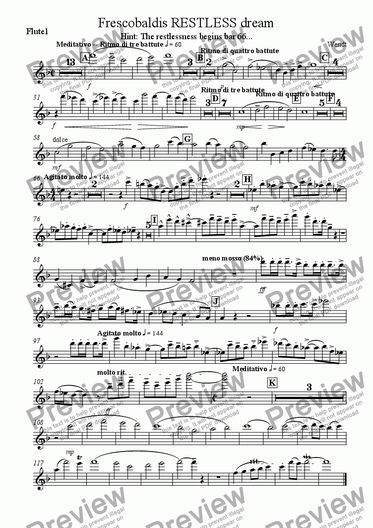page one of the Flute 1 part from Frescobaldis restless dream for chamber orchestra
