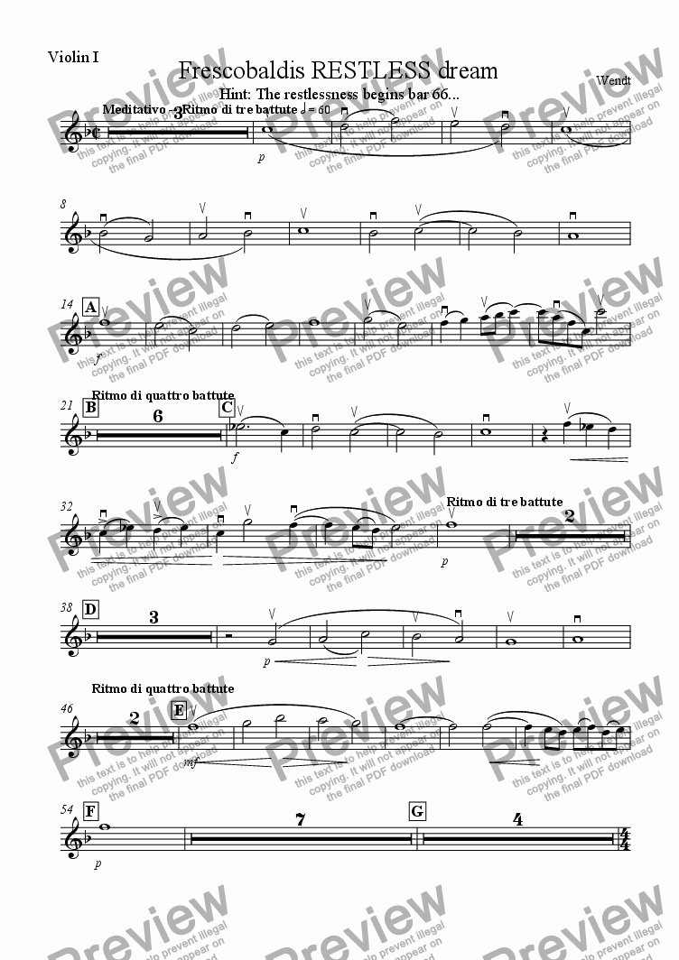 page one of the Violin I part from Frescobaldis restless dream for chamber orchestra