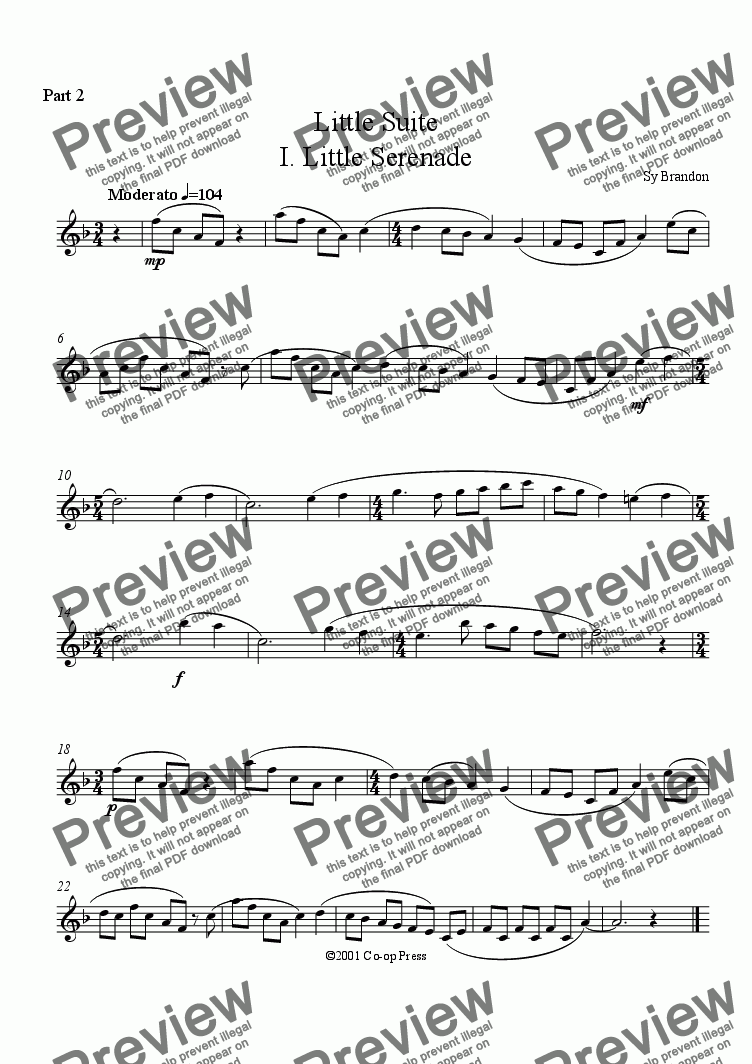 page one of the C instruments TC Part 2 part from Little Suite: Duet for any combination of woodwind instruments