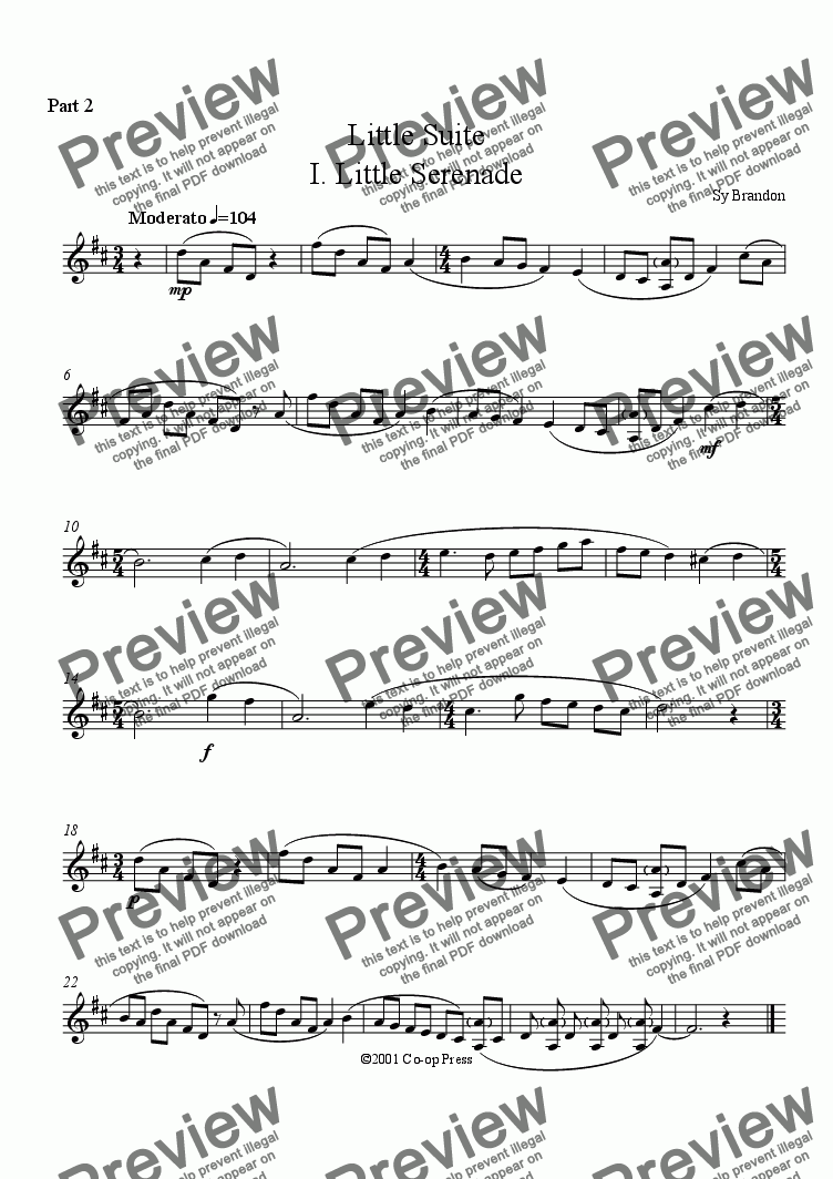 page one of the Eb Instruments Part 2 part from Little Suite: Duet for any combination of woodwind instruments