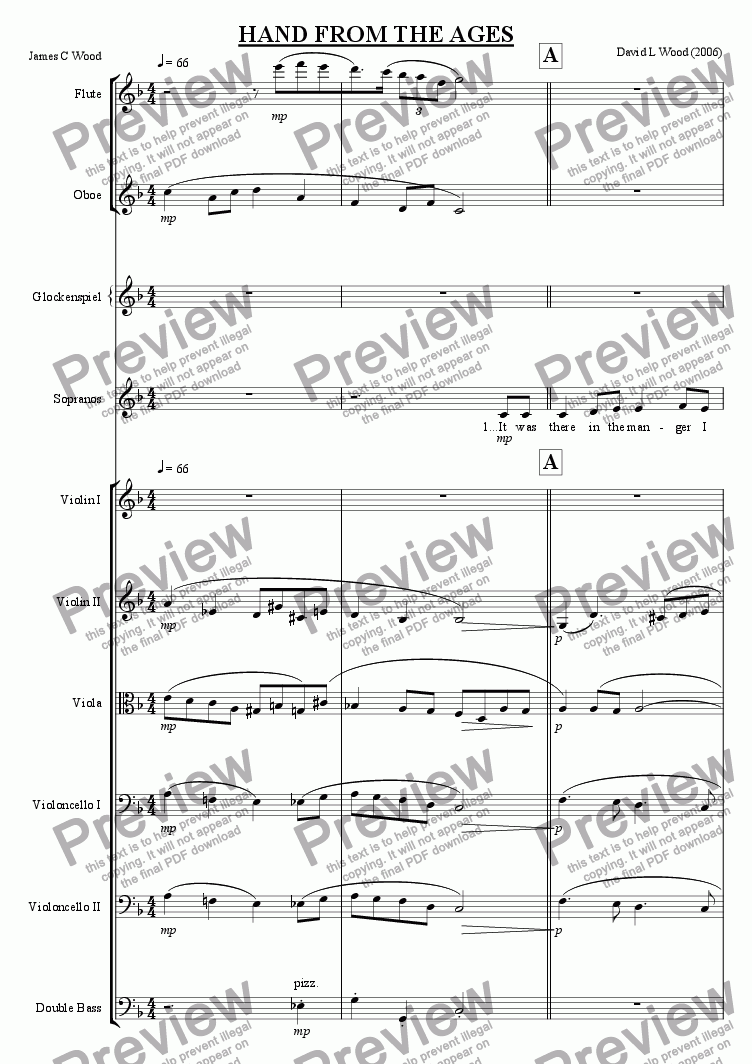 page one of the double bass part from Hand from the ages full score