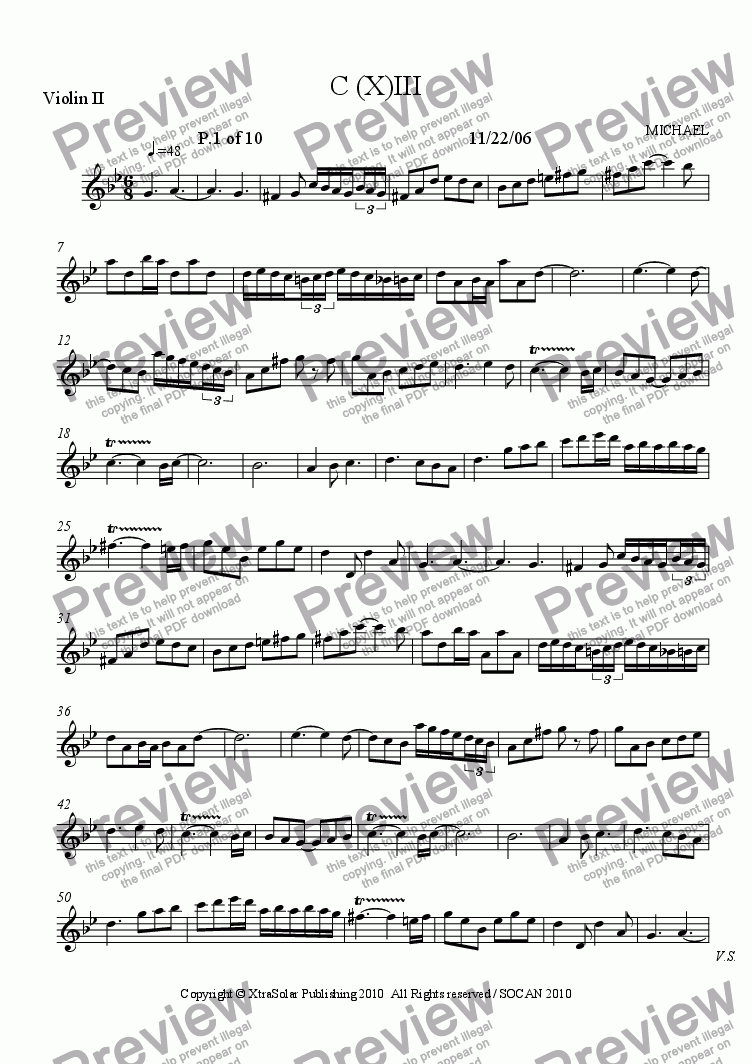 page one of the violin II part from C(X)-III