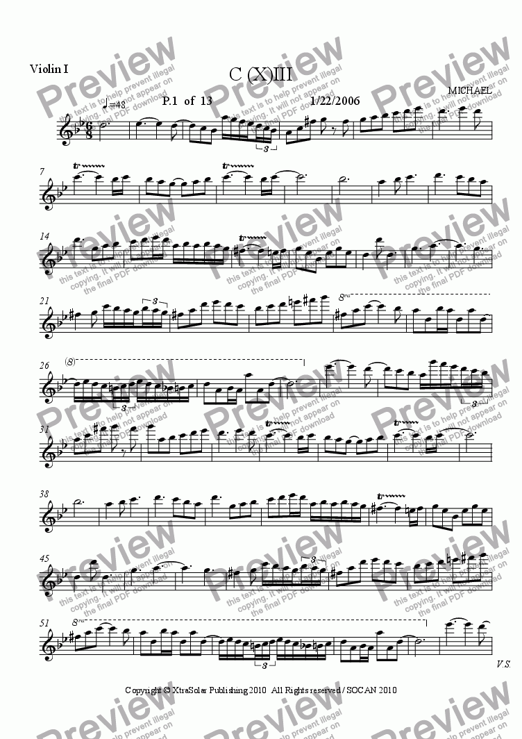 page one of the violin I part from C(X)-III