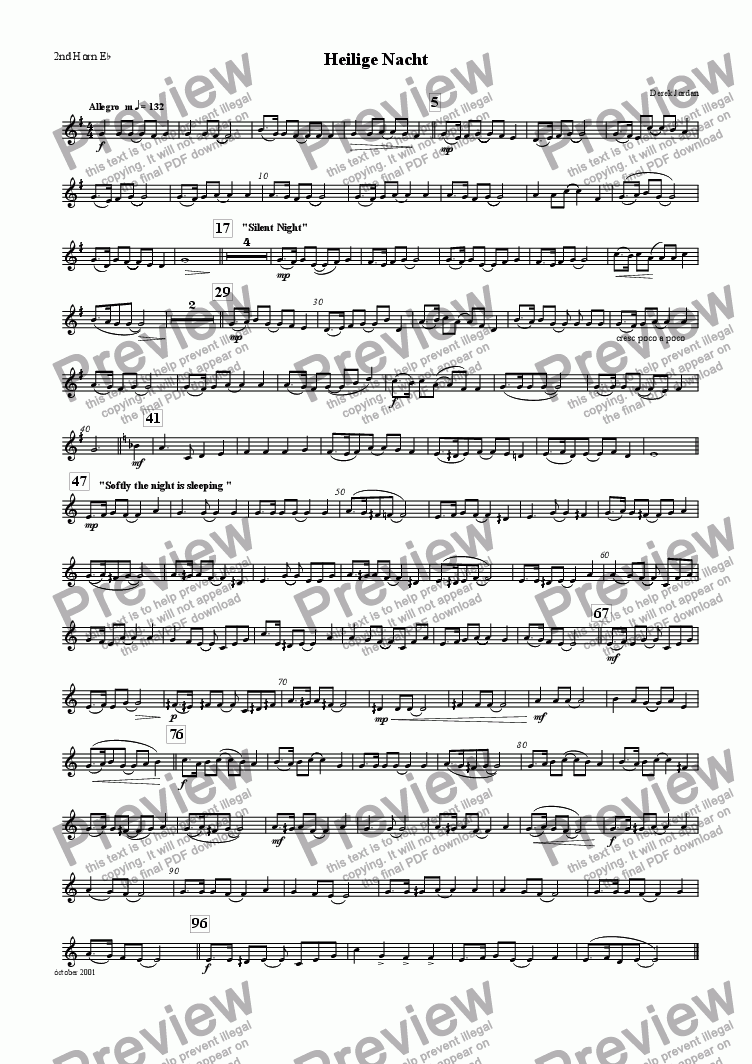 page one of the 2nd Horn Eb part from Heilige Nacht