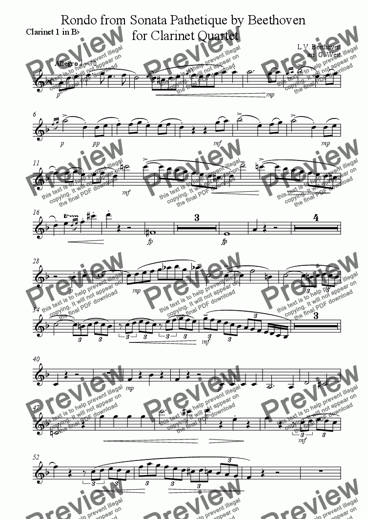page one of the Clarinet 1 part from Rondo from Sonata Pathetique for Clarinet Quartet