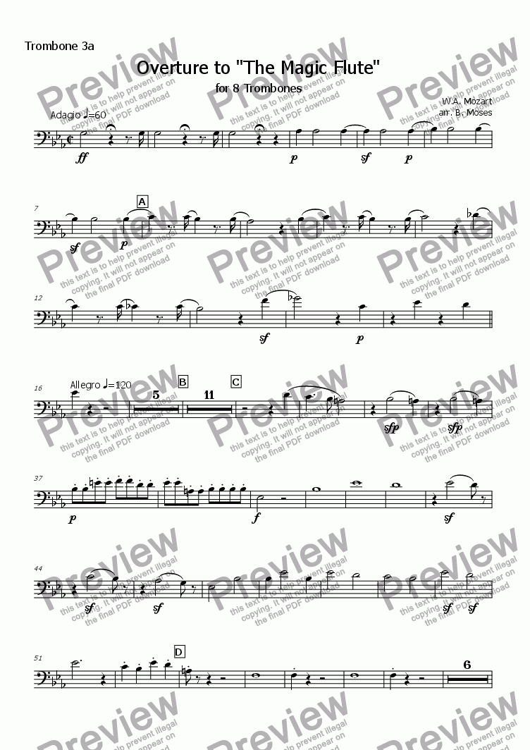page one of the Trombone 3a part from Overture to The Magic Flute (Trombone Octet)