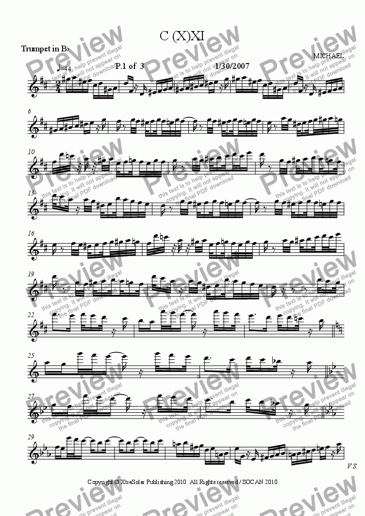 page one of the Trumpet part from C(X)-XI