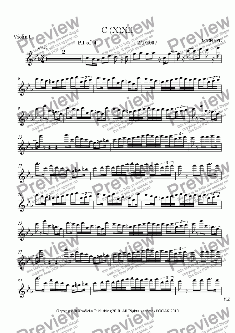 page one of the Violin I part from C(X)-XII