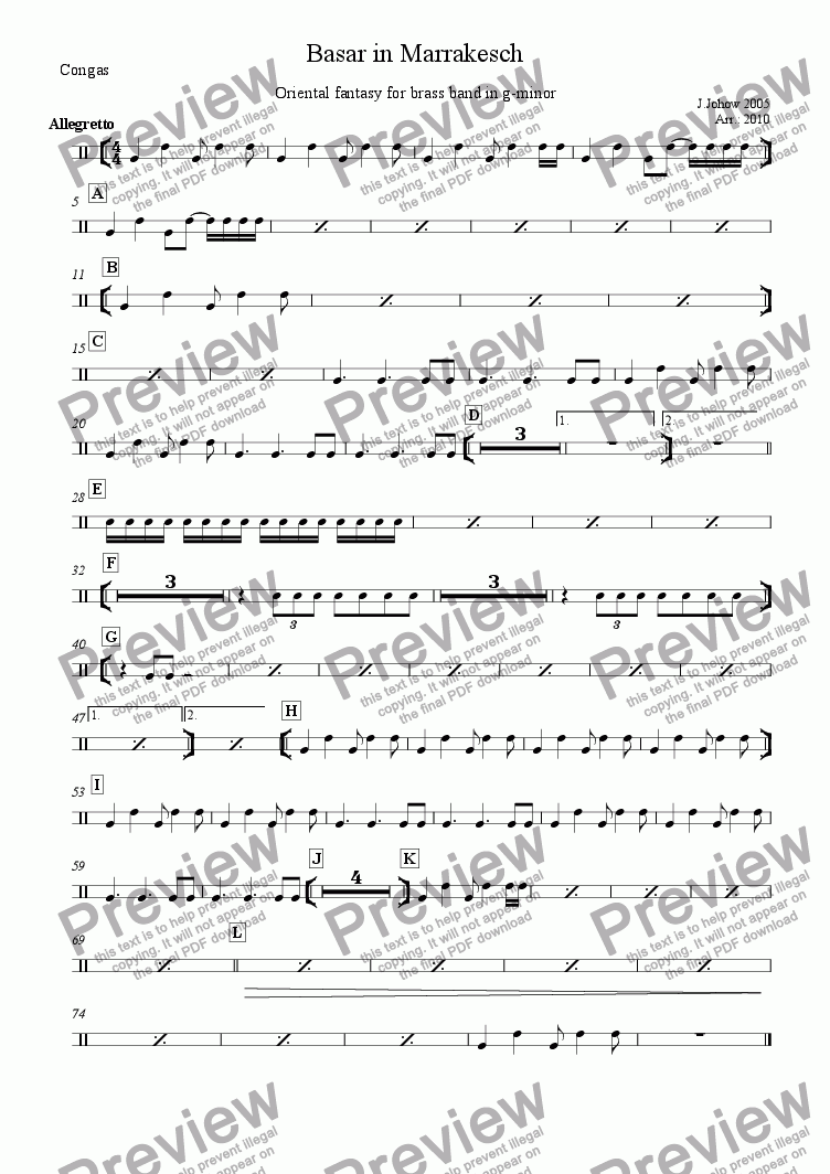 page one of the Conga part from Brass Band 01 (Basar in Marrakesch)