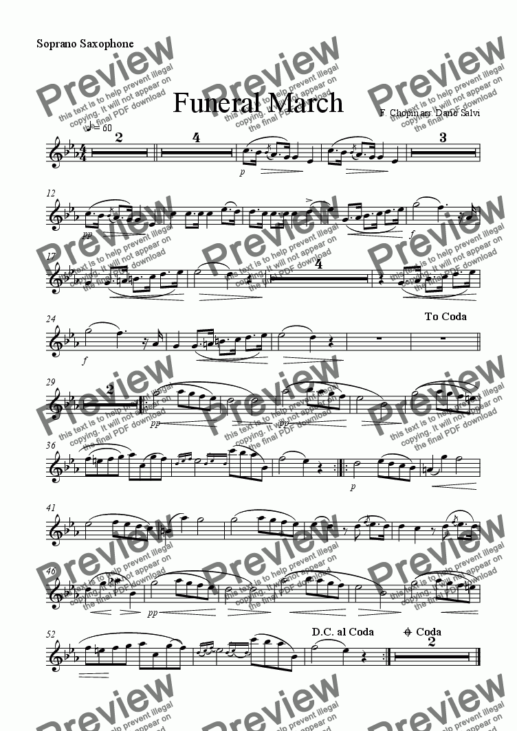 page one of the soprano sax part from Funeral March - Chopin
