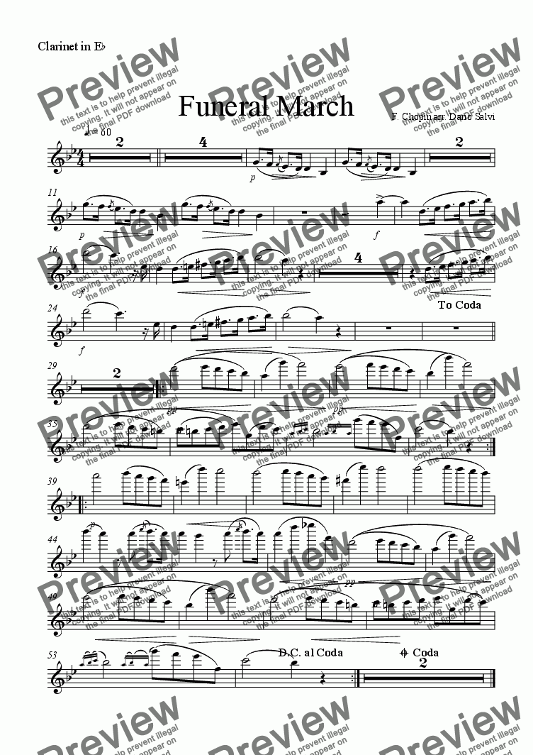page one of the eb clarinet part from Funeral March - Chopin