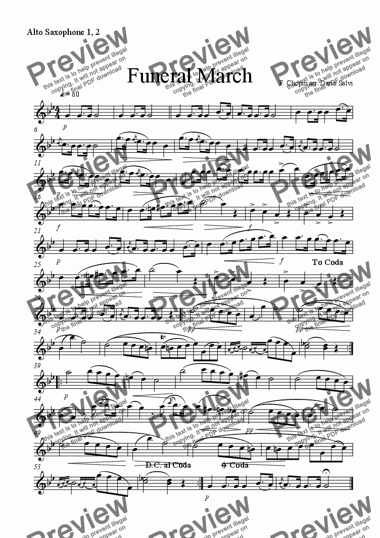 page one of the alto saxophone part from Funeral March - Chopin