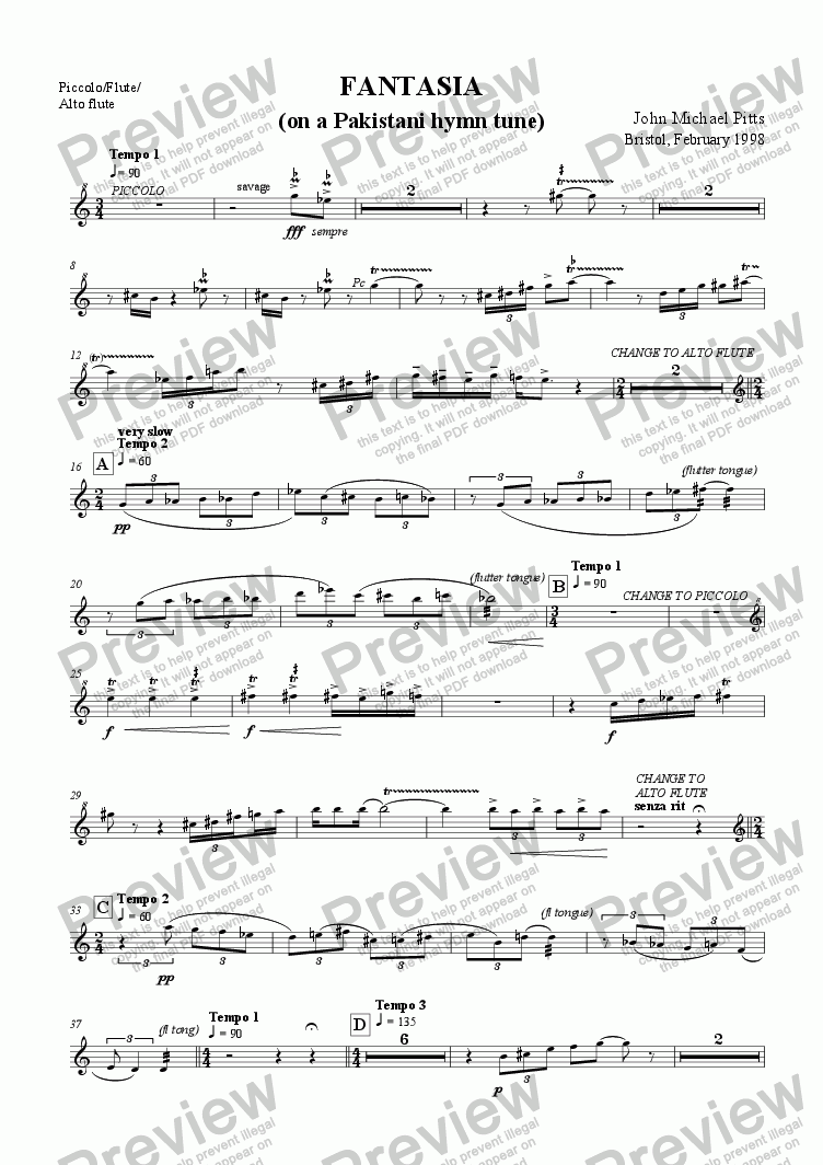 page one of the Piccolo/Flute/Alto flute part from Fantasia on a Pakistani hymn-tune (fl., cl., vc. & harp) [1998]