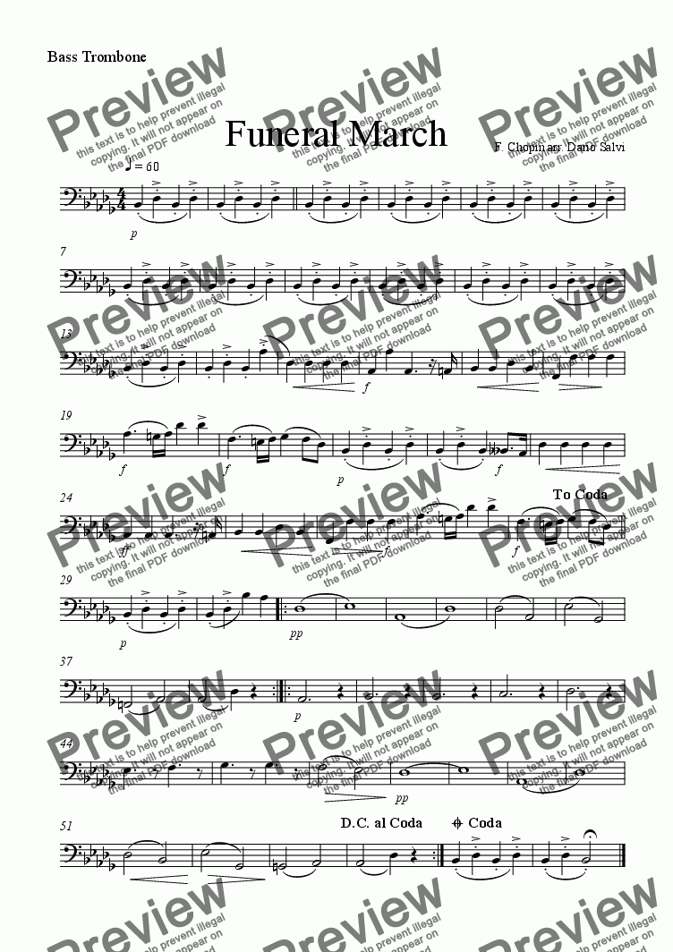 page one of the trombone 3 part from Funeral March - Chopin