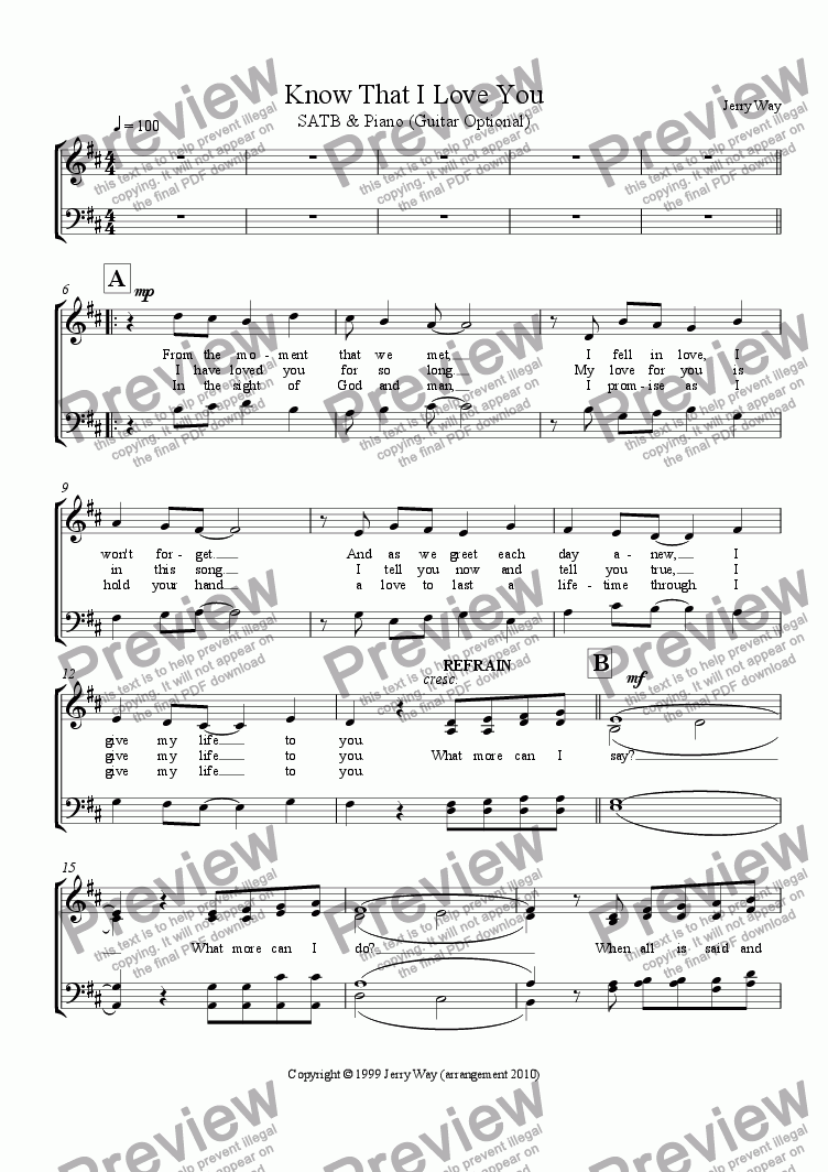 page one of the SATB Vocal part from Know That I Love You