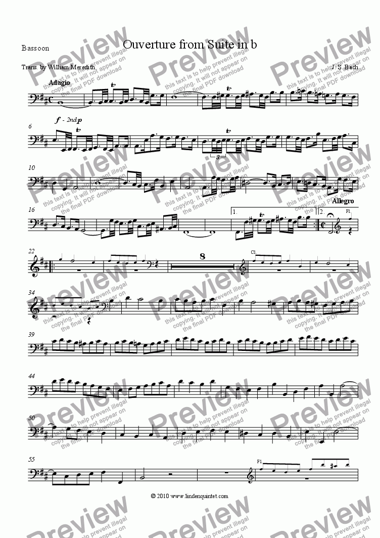 page one of the Bassoon part from Bach - Suite No. 2 in b, Ouverture