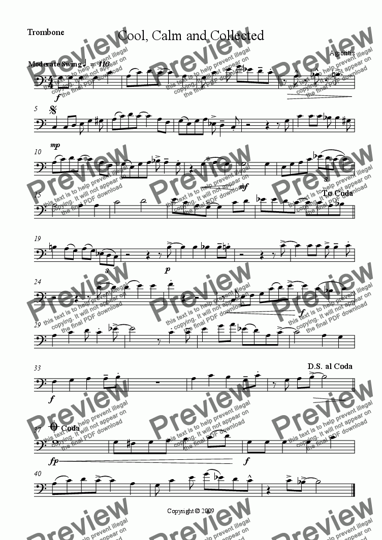 page one of the Trombone part from Cool, Calm and Collected (Brass Quartet)