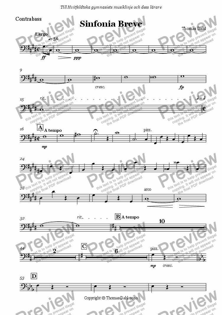 page one of the Contrabass part from Sinfonia Breve