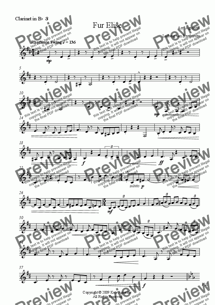 page one of the Clarinet 3 part from Fur Elise - for Clarinet Quartet