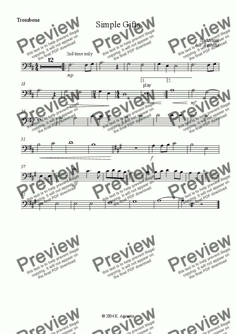 page one of the Trombone part from Simple Gifts - for Young Orchestra