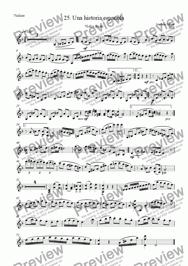 page one of the Vl part from Violin Book 25 ( Una historia espagnola)