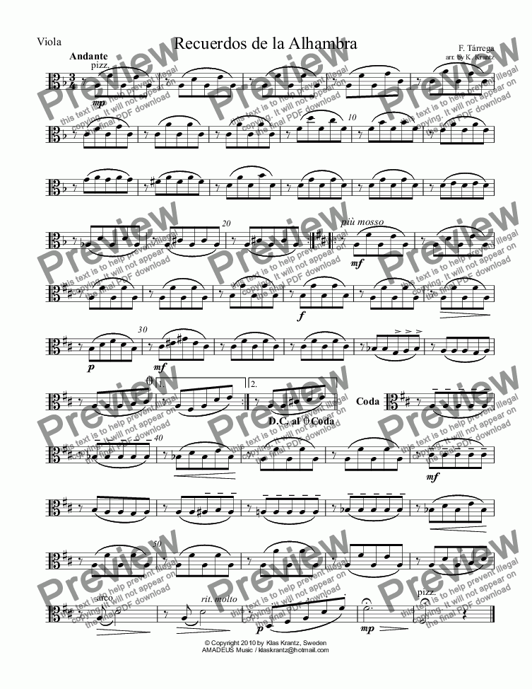 page one of the viola part from Recuerdos de la Alhambra for string quartet