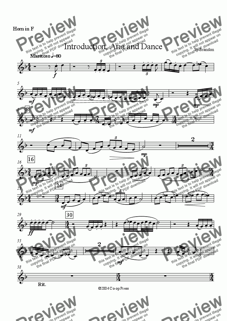 page one of the Horn in F part from Introduction, Aria and Dance for Brass Sextet